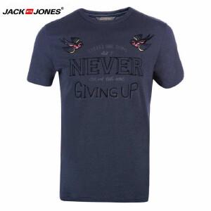 杰克琼斯/JackJones时尚百搭新款T恤 黑鸟-10-5-1-215301014038
