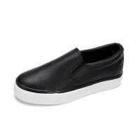 皮面一脚蹬帆布鞋女鞋学生百搭厚底平底平跟懒人鞋休闲小白鞋