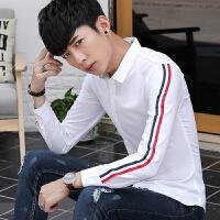 新款2018男士长袖男士个性长袖衬衫春秋款男长袖衬衫韩版青少潮流
