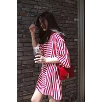 T恤女中长款短袖红白撞色不规则条纹宽松大码百搭韩版学生打底衫 红色