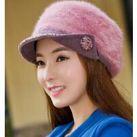 毛线帽兔毛帽 冬天针织鸭舌帽子 潮秋冬季双层保暖