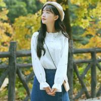 春装雪纺白衬衫女长袖宽松显瘦学生韩版刺绣印花荷叶边木耳领上衣 杏白色