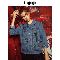 Lagogo拉谷谷2019秋季新款潮味贴布刺绣牛仔上衣外套女HCWW538Y71
