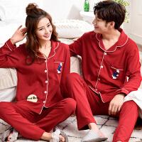 2018新款两套价结婚情侣睡衣纯棉长袖新婚庆大红色可爱卡通男女款套装秋款