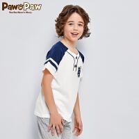 【3件3折 到手价:107】Pawinpaw卡通小熊童装夏男童多色开扣中大童休闲T恤