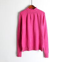 春秋款女装时尚 百搭纯色简约 半高圆领套头打底毛衣针织衫K5