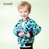 【3件3折:80.7】安奈儿童装男童夹克迷彩印花落肩新款帅气宝宝休闲外套秋装