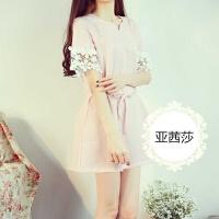 2015新款夏季�n版女�b清新蕾�z拼接收腰�B衣裙棉麻短袖甜美a字裙
