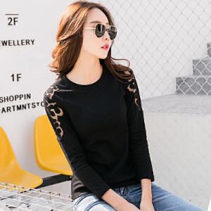 长袖T恤女纯棉刺绣上衣春装新款韩版女装体恤拼接镂空打底衫