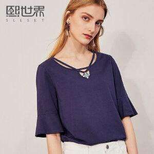 熙世界五分袖喇叭袖刺绣T恤女2018年夏装新款绣花上衣女112ST002