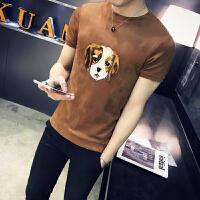 中国风T恤 男刺绣短袖修身圆领半袖复古民族风上衣 夏季潮男装