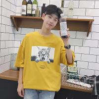 夏装咪印花日系宽松男生潮情侣短袖T恤潮流韩版青年学生上衣