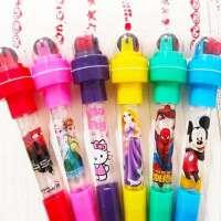 泡泡笔灯光滚轮印章多功能圆珠笔四合一吹泡泡网红女儿公主文具