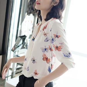 安妮纯唯美印花v领上衣女2020韩版新款白衬衫女士长袖衬衣女夏季