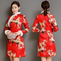 民族风红色加厚打底连衣裙秋冬季新款女中国风复古改良版旗袍