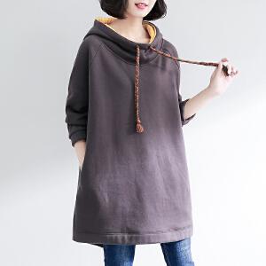 安妮纯套头卫衣女2019春装新款韩版中长款宽松大码连帽加厚外套秋冬上衣