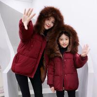 亲子装棉衣外套2018秋冬季新款韩版潮加厚母女装儿童羽绒棉袄