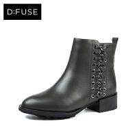 【3折再减80】D:Fuse/迪芙斯冬牛皮圆头侧拉链粗跟绒里短靴DF74118021