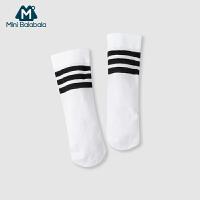 迷你巴拉巴拉童装中性幼童中筒袜单双装男女儿童白色袜子2019夏季