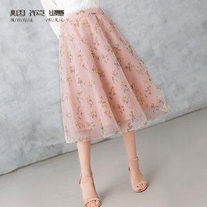 烟花烫  2018夏新款女装甜美欧根纱中长印花A字半身裙 若醒