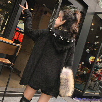 格格家 春装新款时尚学院风连帽长袖绑带宽松针织毛衣开衫外套女