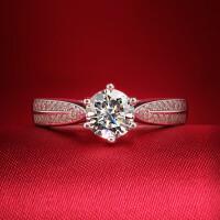 1克拉钻戒 星光 女戒S925银情侣戒指 女钻石婚戒指 材质925银镀白金 8号-22号 现货即发