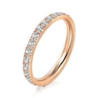 少女心ins指环网红戒指情侣对戒玫瑰金色求婚戒指送女友求婚表白 白金色全钻戒指 美6号
