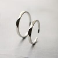银饰S925纯银情侣戒指一对男女简约梯形雕刻开口可调节对戒女