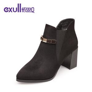 依思q冬季新款粗跟高跟短靴尖头套脚金属配饰女靴子