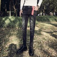 新款黑色牛仔裤男时尚休闲长裤青少年弹性男裤子修身牛仔小脚靴裤
