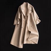冬季中长款翻领阿尔巴卡双面呢大衣外套女L3/2/34