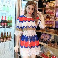 针织连衣裙潮 夏季新款拼色镂空收腰显瘦裙子优雅气质个性小个子
