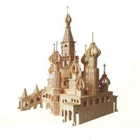 手工拼装建筑模型 3d立体木制木质拼板拼图儿童玩具