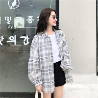 夏装女装韩版中长款小清新宽松POLO领衬衫长袖格子防晒衣衬衣上衣