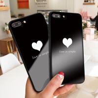 黑白爱心苹果7plus手机壳简约文艺iphone8软边硅胶XS MAX玻璃硬壳X创意彩绘保护套6s创意女款网红同款壳
