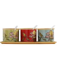 田园陶瓷调味罐套装带盖厨房用品家用油盐罐三件套组合装