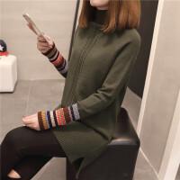 半高领中长款宽松毛衣女套头秋冬装前短后长麻花针织衫长袖打底衫