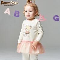 【3件2折 到手价:100】Pawinpaw宝英宝卡通小熊童装秋季女婴拼接连衣裙宝宝长袖卡通裙