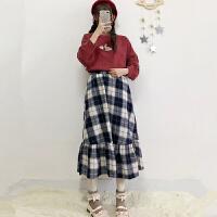 秋冬季2017新款学生女装韩版刺绣针织毛衣+荷叶边格子半身裙套装