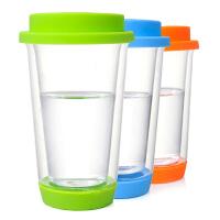 双层玻璃创意带盖水杯 隔热玻璃三色茶杯玻璃杯花茶杯子水杯 办公杯 玻璃盖子 橘色