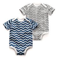 婴儿三角哈衣男女宝宝三角条纹包屁衣半袖爬服女连体衣