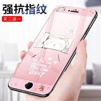 iphone6 plus钢化膜全屏4.7苹果6s手机彩膜全覆盖5.5卡通7