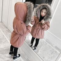 女童棉衣20018新款洋气儿童中长款加绒加厚外套女孩棉袄冬装 深卡其