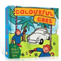 英文原版 Magic Colour Book Colourful Cars多彩汽车 变色抽拉书 颜色启蒙认知 机关操作