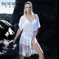 【全场包邮】范德安白色镂空性感比基尼罩衫女夏季海边防晒中长款宽松泳衣披肩
