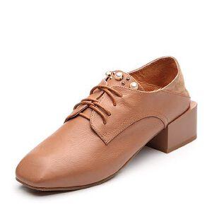 BASTO/百思图2018春季专柜同款牛皮/羊皮珍珠系带方头女皮鞋RBG23AM8