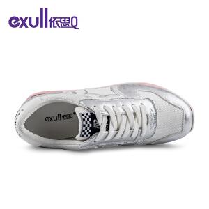 依思Q春季新款时尚星星拼接松糕鞋网面运动风休闲鞋
