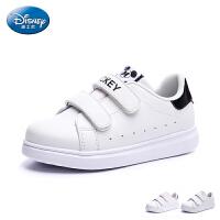 迪士尼童鞋2017新品儿童板鞋宝宝魔术贴滑板鞋中童小白鞋男女童板鞋休闲鞋