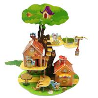 【现货包邮】儿童启蒙趣味3D立体拼图:森林小屋 儿童亲子娱乐 益智玩具 锻炼动手能力促进脑袋开发 DIY泡沫纸板纸质拼