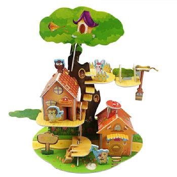 【现货包邮】儿童启蒙趣味3D立体拼图:森林小屋 儿童亲子娱乐 益智玩具 锻炼动手能力促进脑袋开发 DIY泡沫纸板纸质拼图
